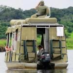 På bådsafari i Botswana